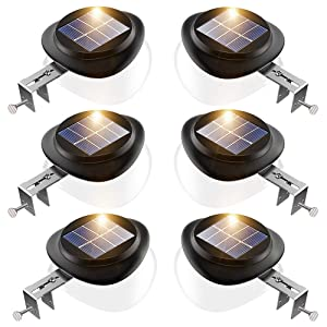 JSOT Solar Gutter Lights, Newest 9 LED Outdoor Fence Light Waterproof Wall Lamps for Garden Patio Driveway Deck Stairs (Yellow Light, Pack of 6)