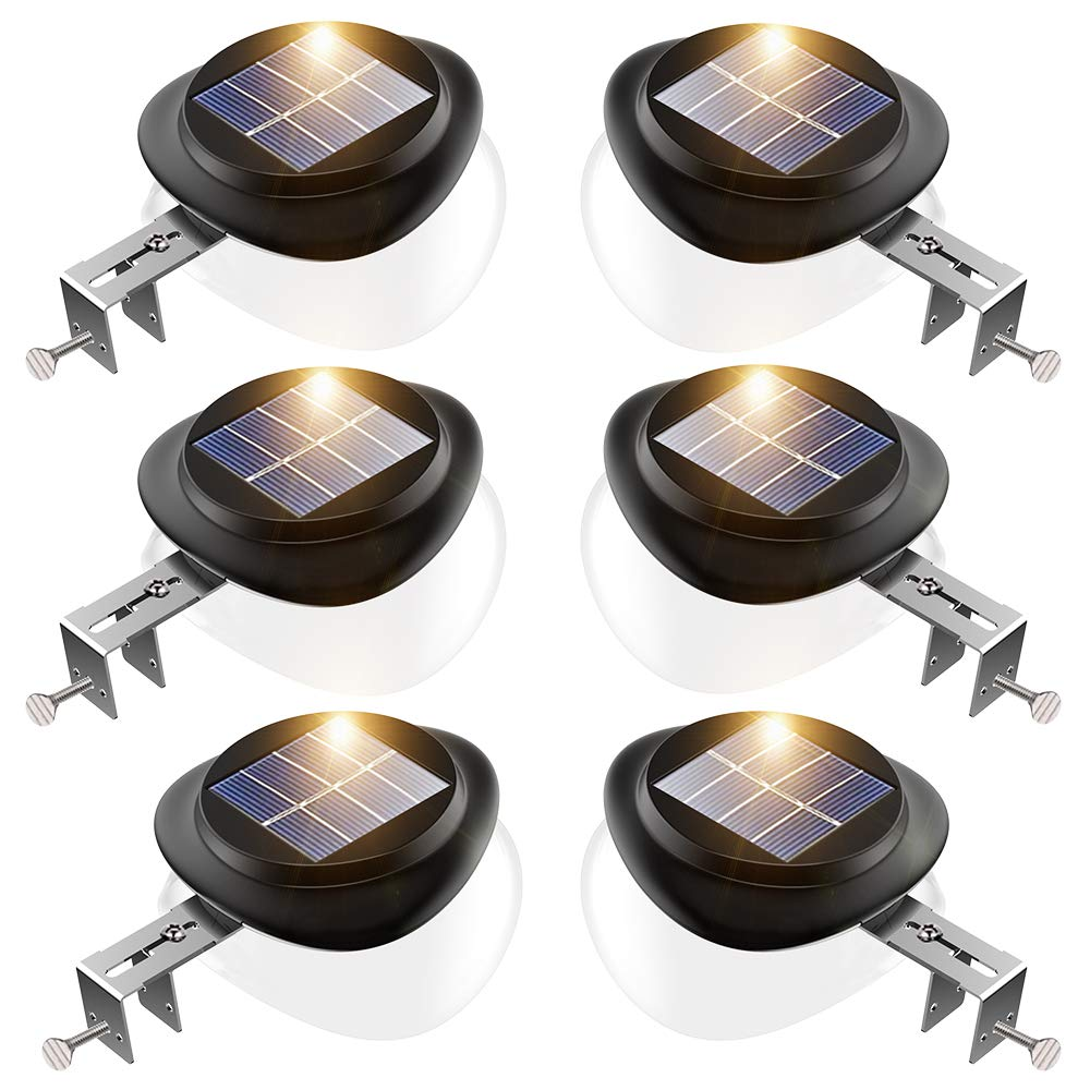 Solar Gutter Lights, Newest 9 LED Outdoor Fence Light Waterproof Wall Lamps for Garden Patio Driveway Deck Stairs (Yellow Light, Pack of 6)