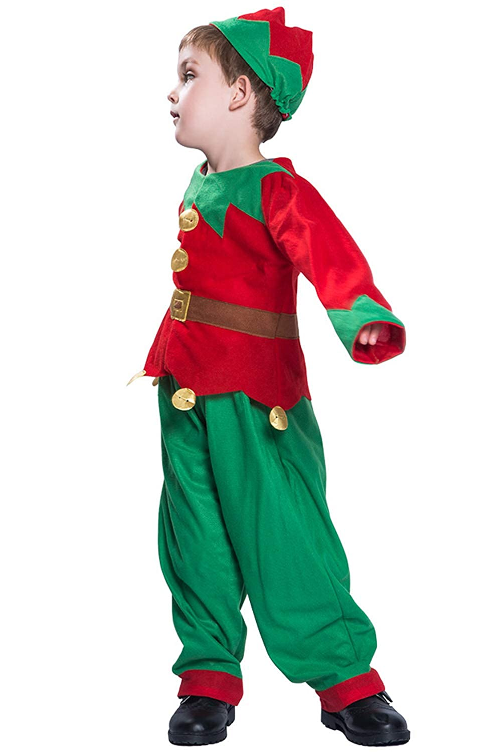 Elf Costume for Kids 3 Pcs Holiday Christmas Elf Outfit