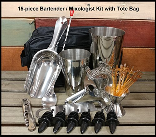 15-Piece Bartender Kit / Mixologist Set with Tote Bag w/Signature Cocktail Picks