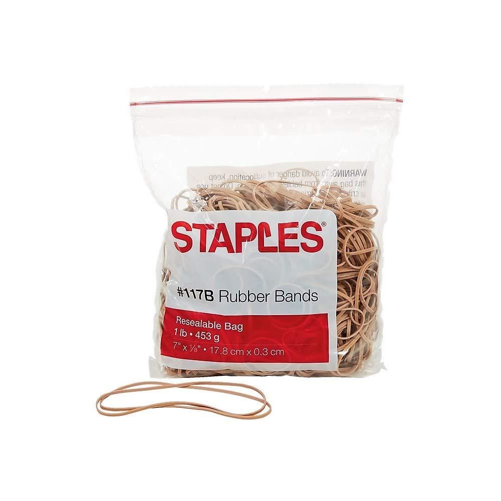 Staples Rubber Bands, Size #117B, (1 Lb)