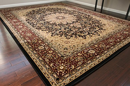 Black Traditional Isfahan Dunes High Density 1 Inch Thick Wool 1.5 Million  Point Persian Area Rugs 5'2 x 7'3