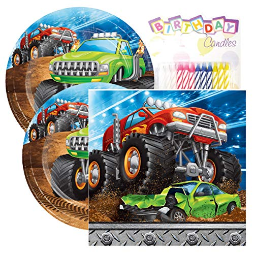 "Monster Truck Rally Birthday Party Pack – Includes 7"" Paper Plates & Beverage Napkins Plus 24 Birthday Candles – Serves -"