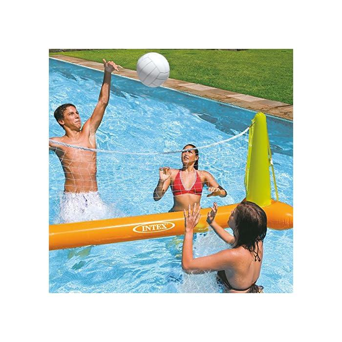 614V48LOeeL Juego de voleibol hinchable ideal para piscinas, medidas de la portería flotante: 239 x 64 x 91 cm Incluye una red y un balón de vóley de color blanco, material: vinilo resistente y color: naranja/verde Incorpora bolsas para colocar peso para mayor sujeción