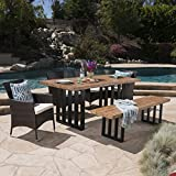 Great Deal Furniture | Francis | Outdoor 6-Piece Wicker/Concrete Lightweight Dining Set | with Natural Oak Finish | Water Resistant Cushions | in Multibrown/Beige