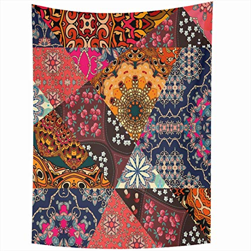 (Ahawoso Tapestry 60 x 80 Inches Floral Red Mexican Festive Patchwork Pattern Indian Summer Flower Holidays Ethnic Patch Vintage Quilt Wall Hanging Home Decor Tapestries for Living Room Bedroom Dorm)