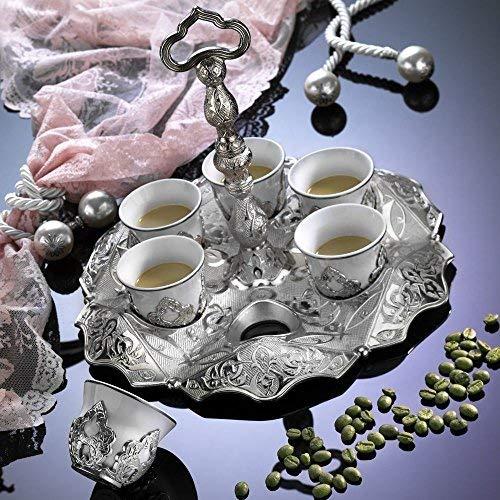 13 Pieces Vintage Style Ottoman Turkish Greek Arabic Coffee Espresso Serving Cup Gift Set, Silver
