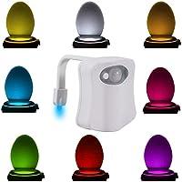 Toilettes Veilleuse détecteur de mouvement, lumière de siège de toilettes à l'intérieur pour salle de bain Washroom LED, détecteur de mouvement, 8à changement de couleur, fonctionne avec pile
