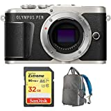 Olympus PEN E-PL9 16.1 MP Wi-Fi 4K Mirrorless Camera Body Onyx Black (V205090BU000) with Sandisk 32GB Extreme SD Memory UHS-I Card & Deco Gear Large Photo/Video Backpac Grey
