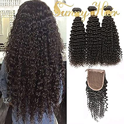 "Sunny Brazilian Kinky Curly Virgin Human Hair Weave 3 Bundles 22"" with 1 Piece Lace"