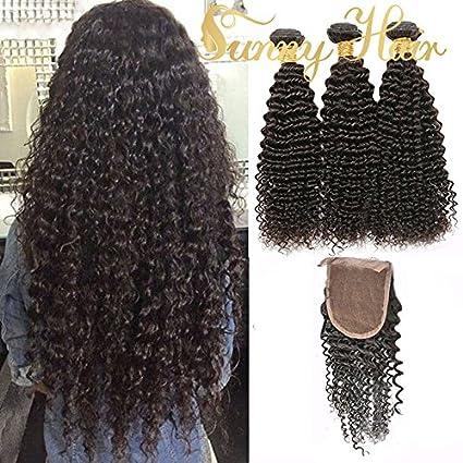 "Sunny Brazilian Kinky Curly Virgin Human Hair Weave 3 Bundles 22"" with 1 Piece Lace"