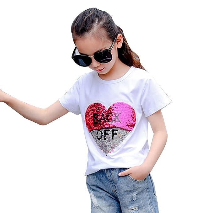 ea7548187 Desigual Corazón Lentejuela Reversibles Camiseta Niña Moda Linda Tops Manga  Corta  Amazon.es  Ropa y accesorios