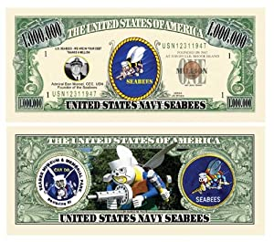 US Navy Seabees Million Dollar Bills - Pack of 5 - Fun Gift Or Keepsake for Members of The US Navy Construction Battalion by American Art Classics