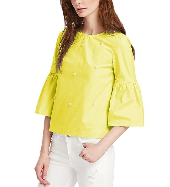 Las Mujeres Crop Tops Con Perlas Fiesta Elegante Camisetas De 3/4 Mangas Cuello Redondo Tops Casual Primavera Otoño Tumblr T-Shirt Básicos Color Sólido ...