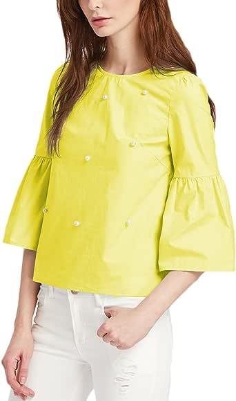 Mujer Camisetas Otoño Elegantes Anchas Basicas Camisas Media Manga Basic Ropa Trompeta Manga Cuello Redondo con Perlas Tops Blusones Color Sólido Rayas Joven Moda Casual Suelto Blusas T Shirt Ropa: Amazon.es: Ropa