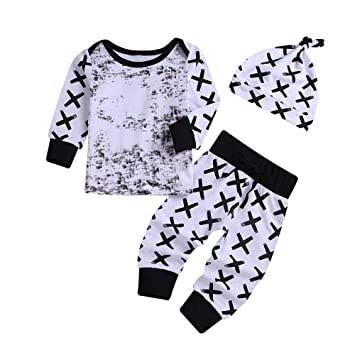 52d06f56e Amazon.com  Infant Kids Pajamas for Boy Girl Pullover Top+Pant+Hat ...