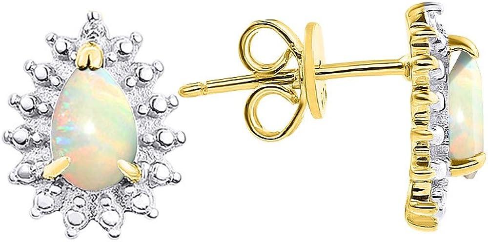 Pendientes con forma de pera de ópalo y diamante en plata chapada en oro amarillo, piedra natal de octubre de 925