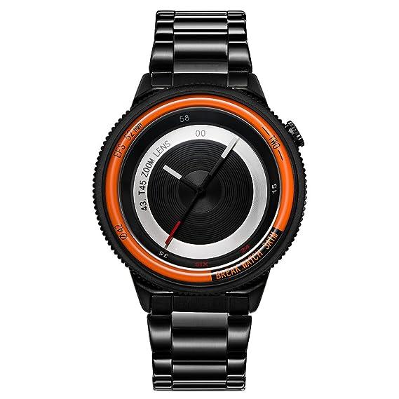 BREAK Relojes de Moda Originales Top Luxury Hombres Mujeres Correa de Acero Inoxidable de Cuarzo Creative Sport Reloj de Pulsera: Amazon.es: Relojes