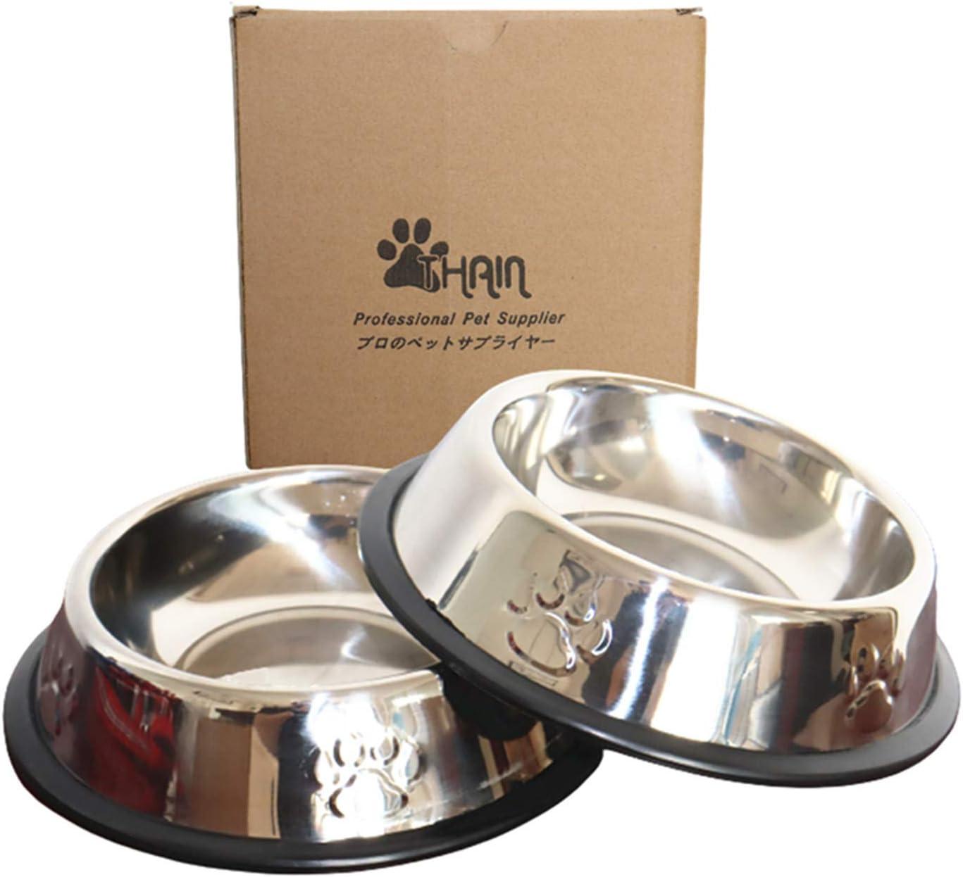 THAIN 2Pcs Cat Bowl Pet Bowl Stainless Steel Cat Food Water Bowl Non-Slip Rubber Base Small Pet Bowl Cat Feeding Bowls (Set of 2