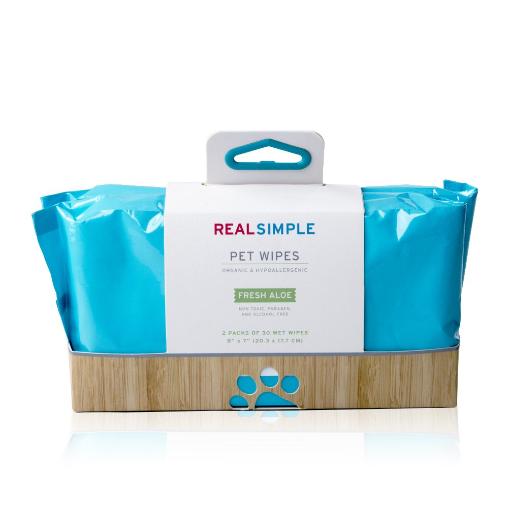 Real Simple Pet Dog Wet Wipes 2-Pack 60 Count Organic Hypoallergenic - Aloe
