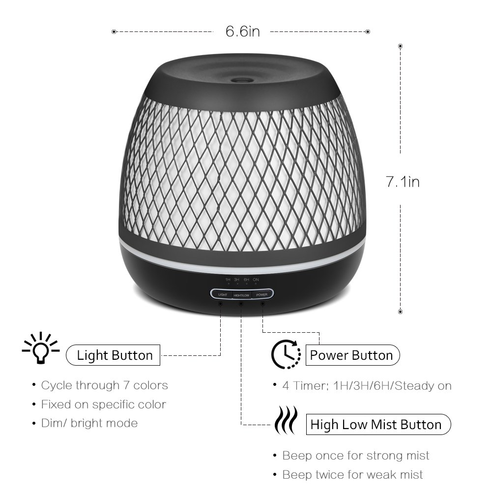 InnoGear 2018 Premium 500ml Aromatherapy Essential Oil Diffuser with Iron Cover Ultrasonic Diffuser Classic Stlye Cool Mist Humidifier with 7 Colorful Night light for Home Bedroom Baby Room Yoga Spa by InnoGear (Image #3)