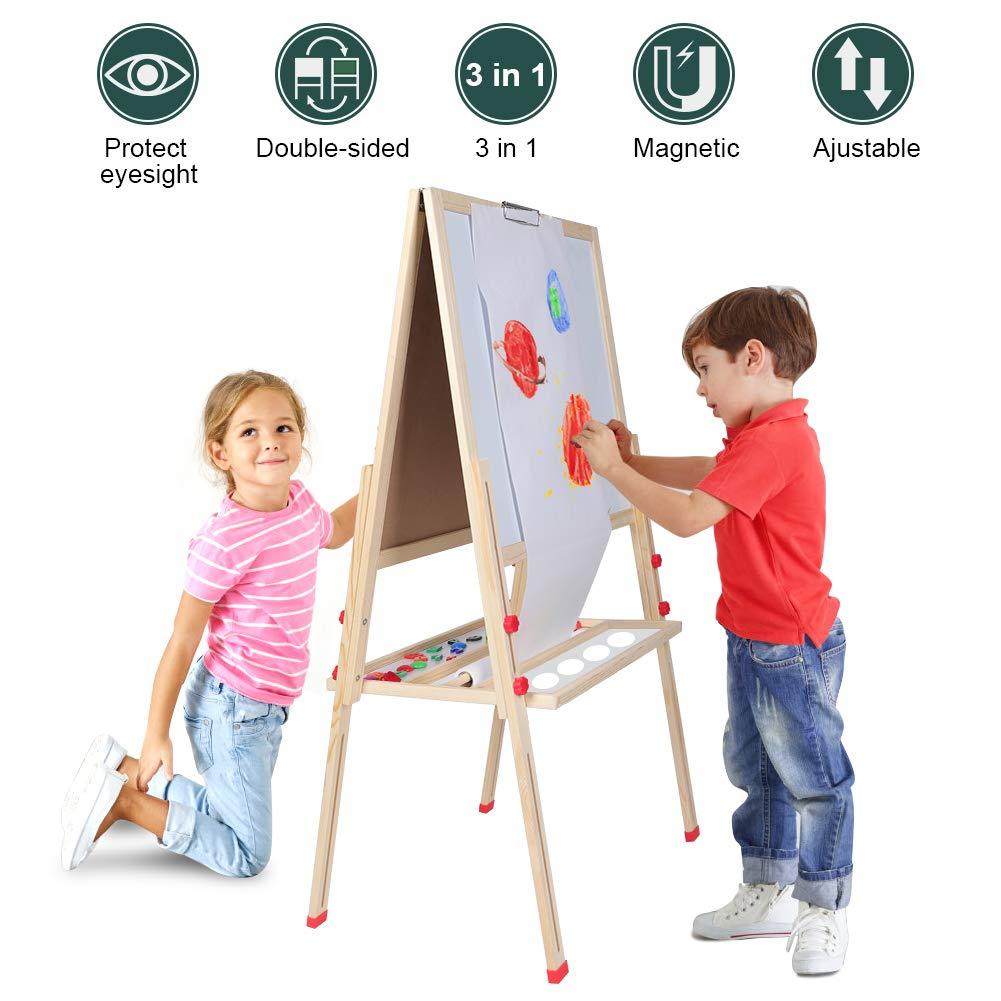 子供用イーゼル 3イン1の2人用 子供用イーゼル 子供の絵画と描画アーティストイーゼル 高さ調節可能 両面イーゼルとアクセサリー   B07HMVXG95