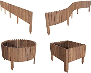Ysiuefos Patio Garden Fence Edging Flexible No-Dig Staggered Spear Decorative Border Picket Fence Fence Ground-Inserted Garden net Wooden Barrier Edging Fencing (Size 2 [8014inchs])