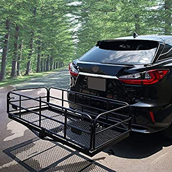 Bestlights 60 x 25 inch Cargo Hauler Carrier Hitch Mounted Luggage Basket with Cargo Bag Combo 2 Receiver Camping RV SUV