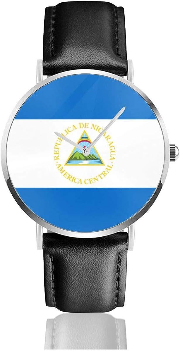 Bandera de Nicaragua Clásico Casual Moda Reloj de Cuarzo Acero Inoxidable Correa de Cuero Relojes