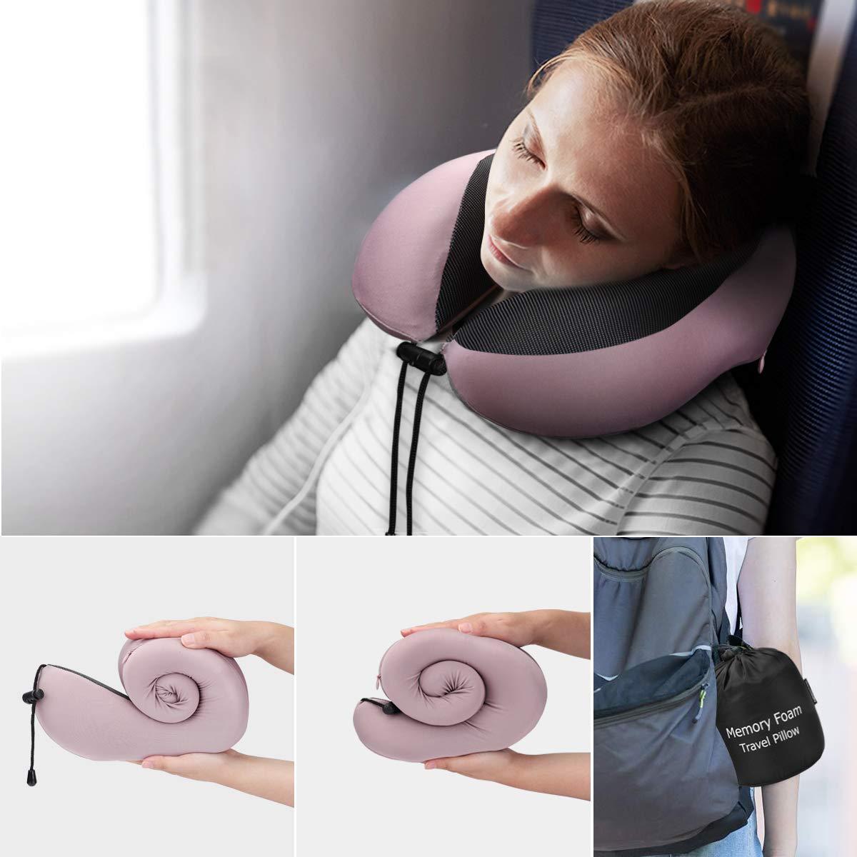 Almohada de Viaje, Keenstone Almohada para el Cuello Hecha de Espuma de Memoria Suave con Tapones para Los Oídos, Almohada Cervical con Función de Soporte Respirable y Ergonómica