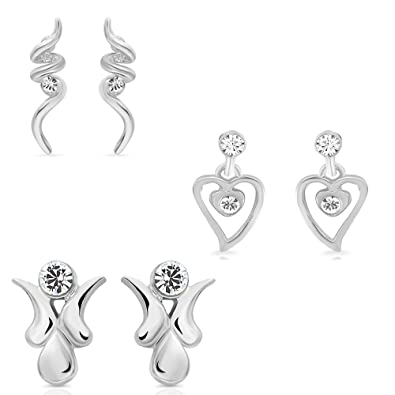 3fa98f5d7 Buy Mahi Eita Collection Combo of Fashion Earrings Studs for Women with  Crystal Stones CO1104021R Online at Low Prices in India | Amazon Jewellery  Store ...