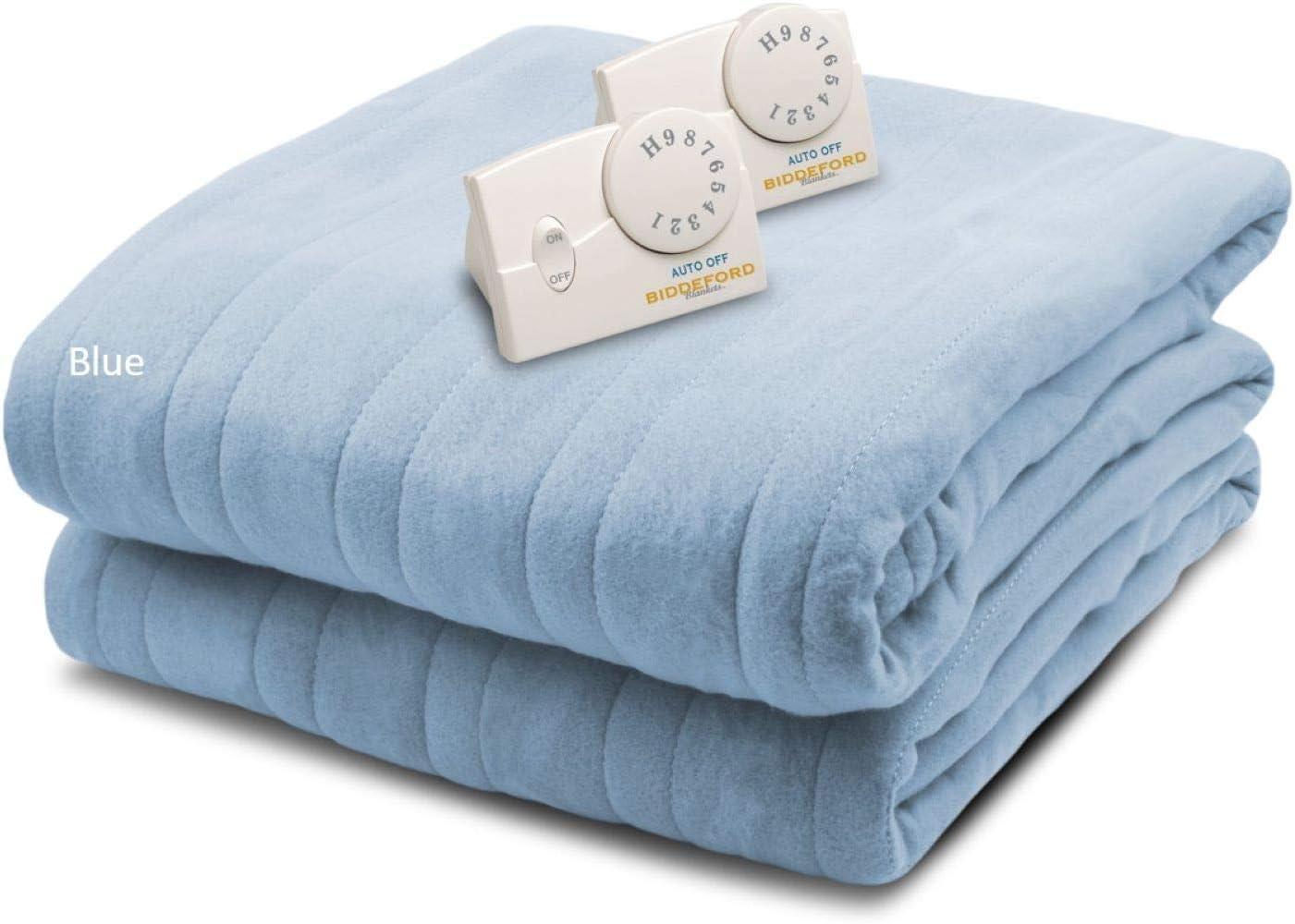 Biddeford Blankets Comfort Knit Heated Blanket, King, Cloud Blue