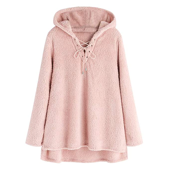 low priced db00d 5f9d1 Yvelands Cappotto Donna in Peluche Felpe Tumblr Ragazza ...
