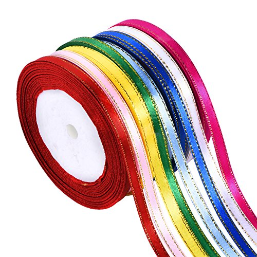 Shappy 8 Rolls 1/ 4 Inch by 25 Yard Satin Ribbon Double Face Ribbon Fabric Ribbon with Golden Edges, 8 Colors (Color Fabric Ribbon)