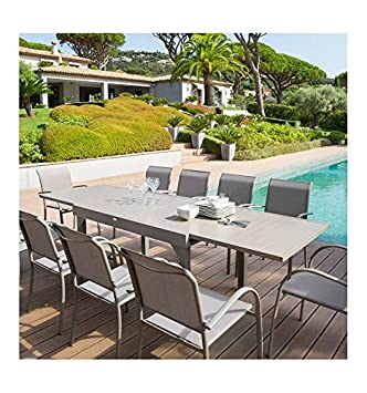 Table rectangulaire extensible Piazza 10 personnes taupe Hespéride ...
