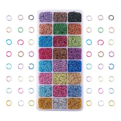 Wire Jewelry Rings - Pandahall 1 Box (about 8400PCS) 24 Color Aluminum Wire Open Jump Rings for jewelry Making Accessories 6x0.8mm