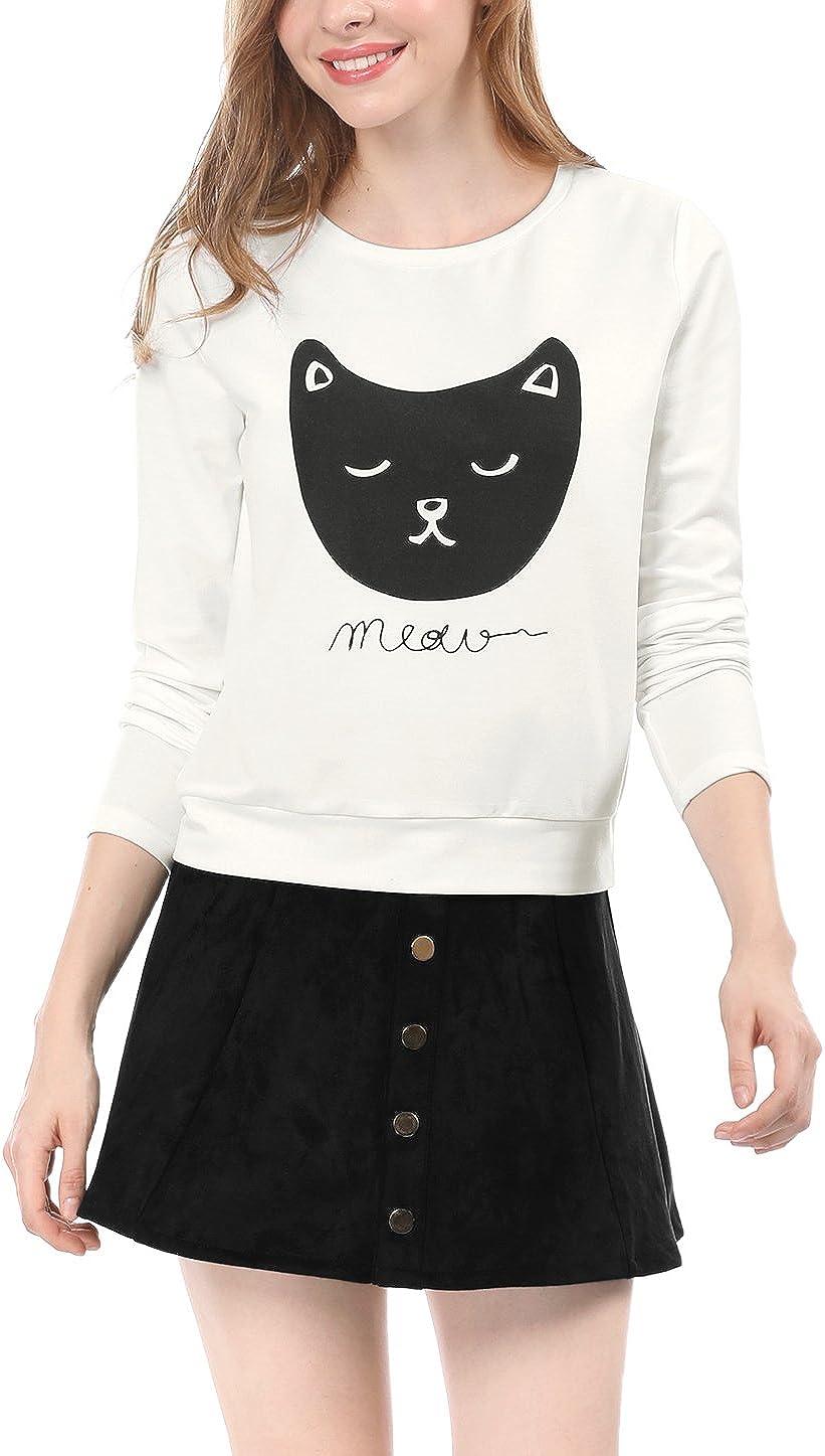 Allegra K Women's Lovely Cat Prints Crew Neck Long Sleeves Top Shirt