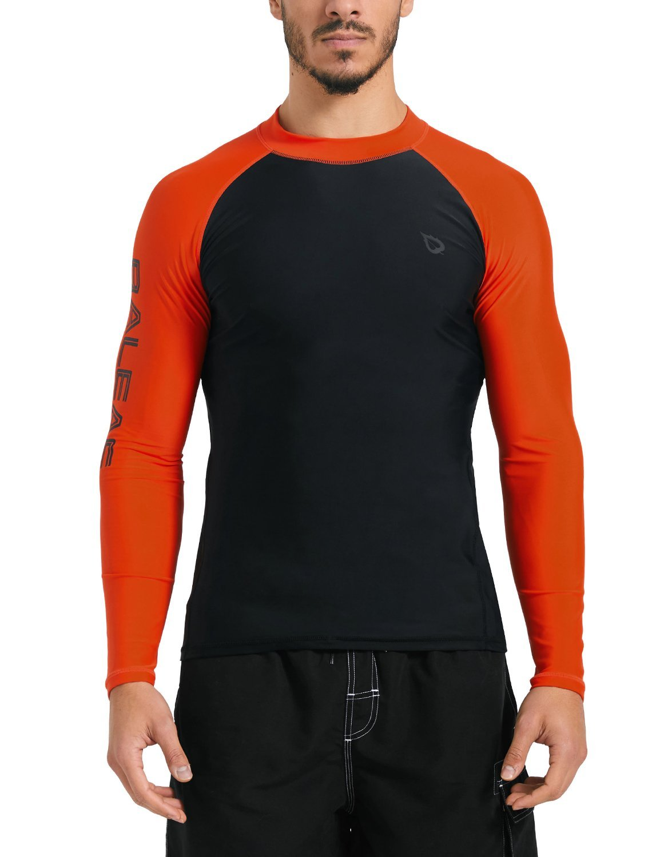 Baleaf Men's Basic Long Sleeve Rashguard UV Sun Protection Athletic Swim Shirt UPF 50+ Black/Orange M by Baleaf