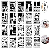 Pawaca 20 Pieces Bullet Journal Stencil Set Plastic Planner Stencils for Journal/Notebook/Diary/Scrapbook/Art Craft Projects/Schedule Book DIY Drawing Template, 4x7 Inch