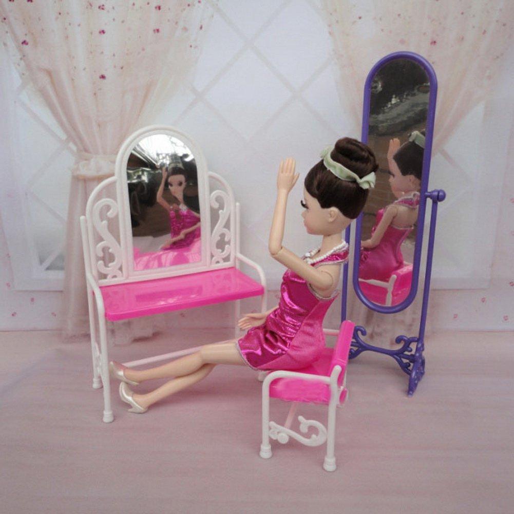 Juego de espejo de tocador Blancho Bedding Muebles de casa de mu/ñecas