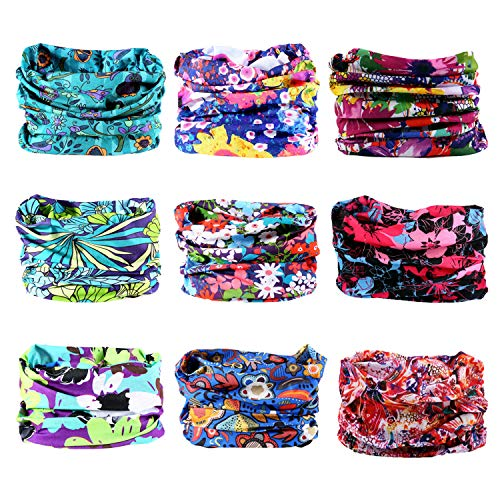 LOTUYACY Outdoor Wide Headband,Elastic Seamless Scarf UV Resistence Sport Headwear for Men&Women,Workout,Yoga,Multi Function,Constructed with High Performance Moisture Wicking Microfiber (Flowers 3)