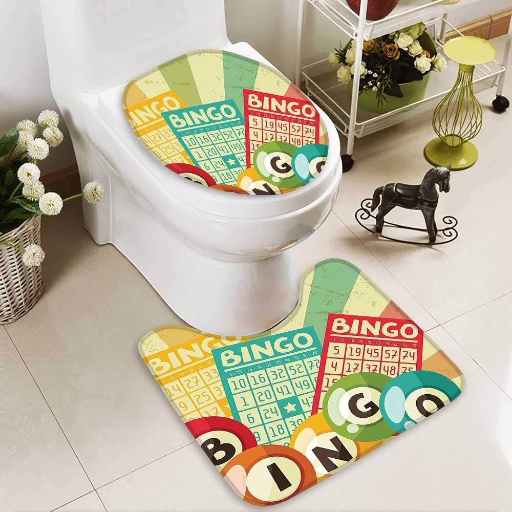 SOCOMIMI U-Shaped Toilet Mat Bingo Game Ball Cards Pop Art Stylized Lottery Hobby Celebration Theme Washable Non-Slip by SOCOMIMI