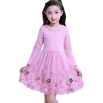 Baby Madchen Kleid Prinzessin Tull Kleid Lange Armel Winter Herbst Kleid Hochzeit Festlich Partykleid Kleider Fur Kleinkinder Kinder Rosa 105 115cm Amazon De Baby