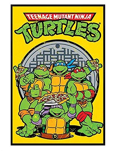 Teenage Mutant Ninja Turtles polarmk negro enmarcado Pizza ...