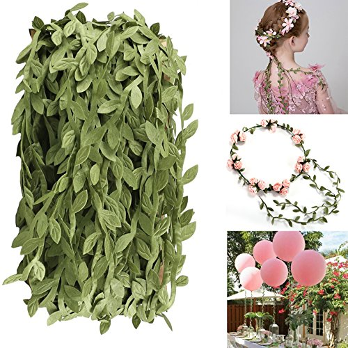 Artificial Vines,Balloon Fake Hanging Plants Silk Ivy Garland Simulation Foliage Rattan Green Leaves Ribbon Wreath Accessory Wedding Wall Crafts Party Decor Wholesale - 132 Ft