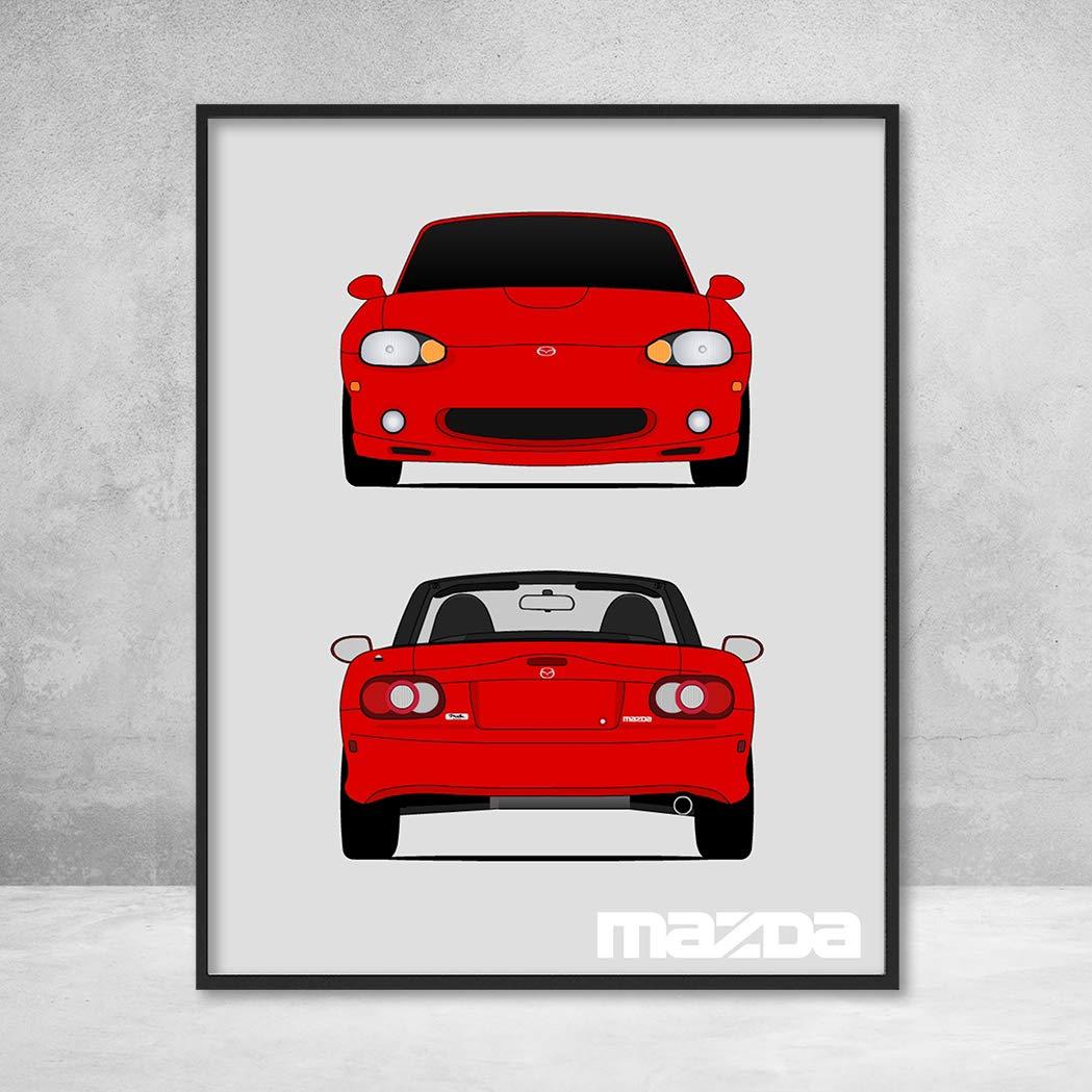 Mazda Miata MX-5 NB Roadster JDM Front and Rear View Poster Print Wall Art Decor Handmade