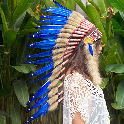 Indian War Bonnet Costume (Long Feather Headdress- Native American Indian Inspired- Handmade by Artisan Halloween Costume for Men Women with Real Feathers - Dark Blue Duck)