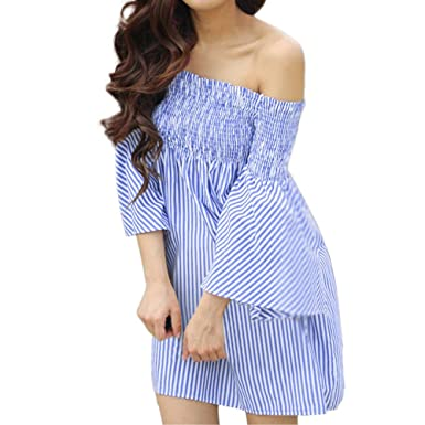 cb6a0fd48dd Women s Summer Dresses Off Shoulder Stripe Loose Casual Mini Dress Lady  Beach Summer Tunic T-Shirt Dress Princess Dress for Ladies Evening Party  Dress for ...