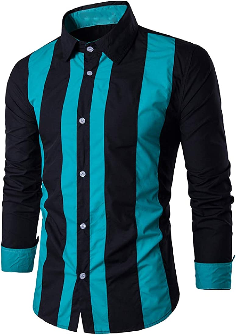 YUNY Mens Long-Sleeve Fashion Buttoned Contrast Striped Western Shirt Black S