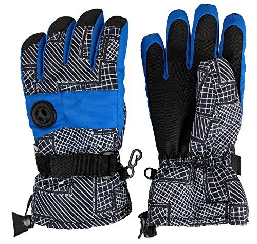 Boys Winter Ski Gloves - N'Ice Caps Kids Thinsulate and Waterproof Geo Lines Print Ski Gloves (8-10yrs, Royal/Grey)